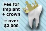 Fee for dental implant and crown